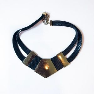 Leather & Gold Statement Necklace